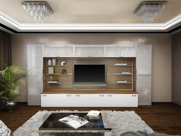 Illustration 3d des designs eines wohnzimmers in den beige tönen Premium Fotos