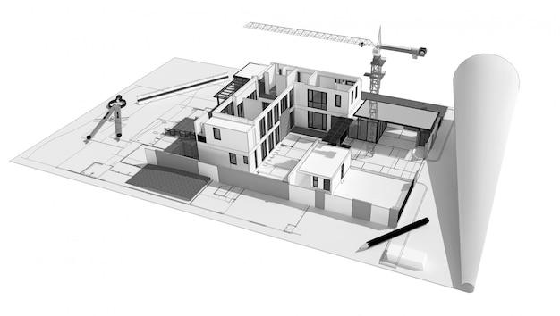 Illustration 3d des gebäudekonzeptkonzeptes, computererzeugte sichtbarmachung der architekten. Premium Fotos