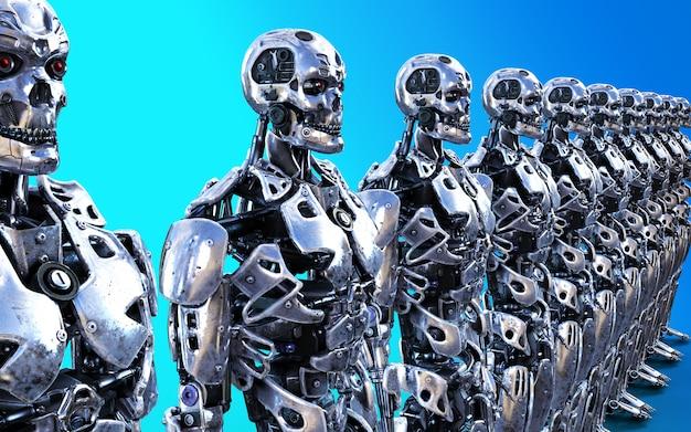 Illustration 3d oder modelle vieler roboter-cyborg-bediensteten mit beschneidungspfad. Premium Fotos