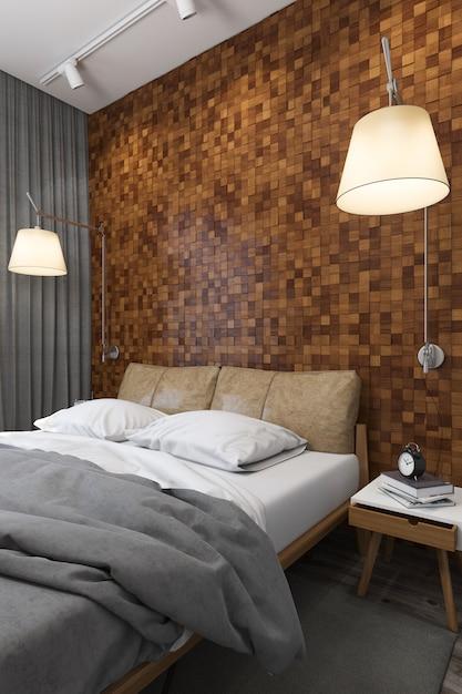 Illustration 3d von schlafzimmern in der skandinavischen art Premium Fotos