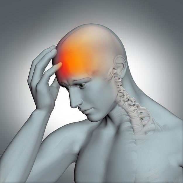 Illustration der menschlichen figur mit kopfschmerzen Kostenlose Fotos