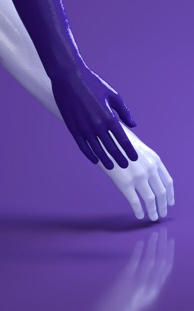 Illustration der wiedergabe 3d von mannhänden im purpurroten studio, das sich berührt. körperteile des menschen. Premium Fotos