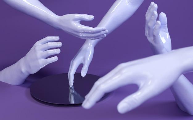Illustration der wiedergabe 3d von mannhänden im purpurroten studio mit spiegel. körperteile des menschen. Premium Fotos