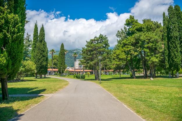 In budva gibt es einen malerischen park in der nähe des dammes. montenegro. Premium Fotos
