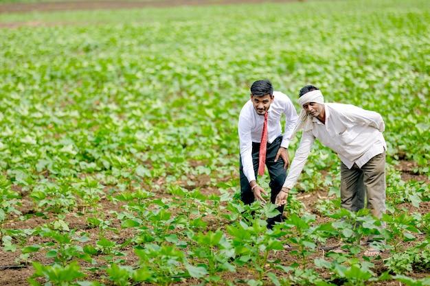 Indischer agronom mit landwirt am baumwollfeld Premium Fotos