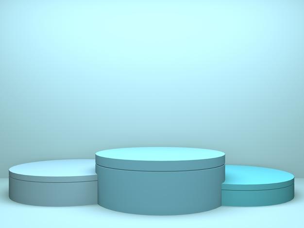 Innenarchitekturprodukthintergrund des blauen rauminnenraums der pastellkreis-geometrie Premium Fotos