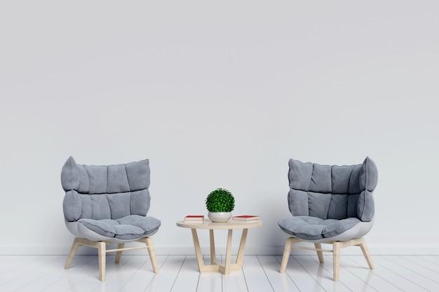 Inneninnenraum des wohnzimmers mit nettem lehnsessel auf weißem hintergrund mit. 3d renderi Premium Fotos