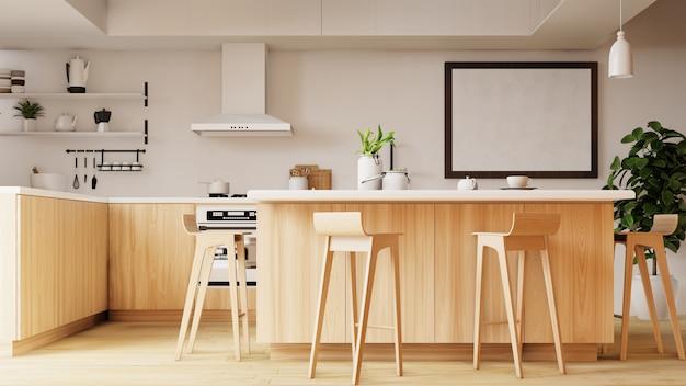 Innenküche. 3d-rendering. Premium Fotos