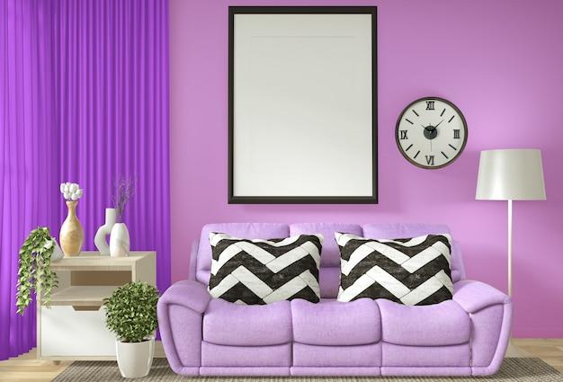 Innenplakatrahmenspott herauf wohnzimmer mit purpurroter wand andl weißer wiedergabe des sofas 3d Premium Fotos