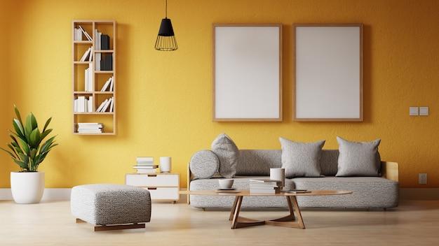 Innenrahmenwohnzimmer mit buntem weißem sofa Premium Fotos