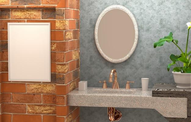 Innenraum 3d des badezimmers mit betonmauer, blume, abstraktem spiegel und einem leeren rahmen Premium Fotos