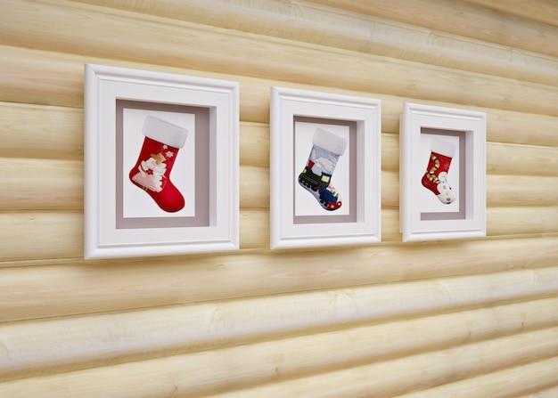 Innenraum des hölzernen weihnachtshauses mit weihnachtsdekorationen Premium Fotos