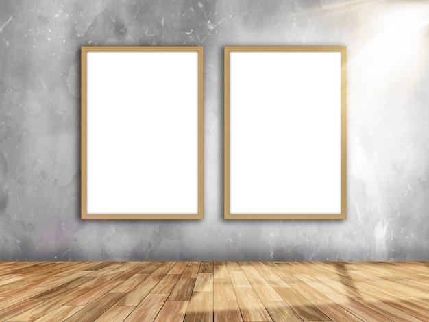 Innenraum des raumes 3d mit leeren bilderrahmen auf der wand mit dem licht, das von rechts scheint Kostenlose Fotos