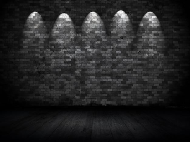 Innenraum im grunge-stil mit scheinwerfern gegen alte backsteinmauer Kostenlose Fotos