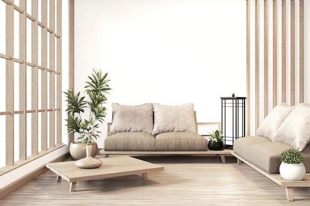 Innenraum, japanische art des modernen wohnzimmers des zens Premium Fotos
