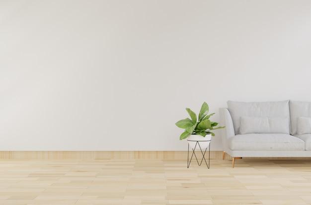 Innenraumspott oben mit grauem samtsessel im wohnzimmer mit weißer wand. 3d-rendering. Premium Fotos