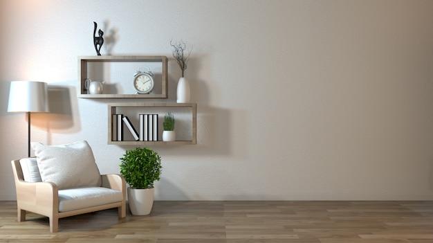 Innenspott oben mit lehnsessel im japanischen wohnzimmer mit leerer wand Premium Fotos