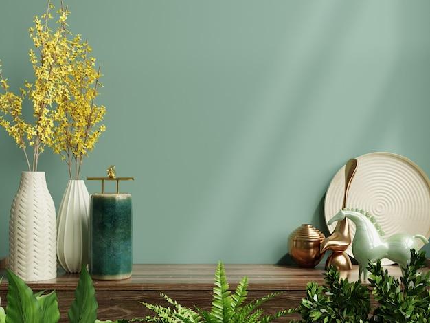 Innenwandmodell mit grüner pflanze, grüner wand und regal.3d-darstellung Kostenlose Fotos