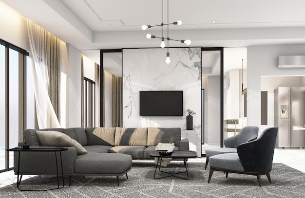 Innenwohnbereich im modernen luxusstil 3d-rendering Premium Fotos