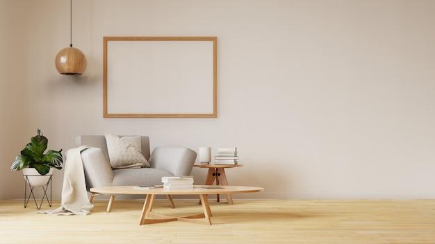 Innenwohnzimmer mit buntem weißem sofa Premium Fotos
