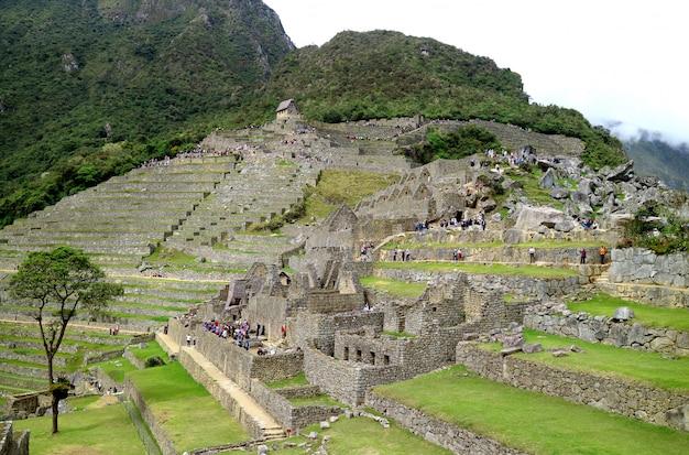Innerhalb der archäologischen stätte von machu picchu, unesco-provinz urubamba, peru Premium Fotos
