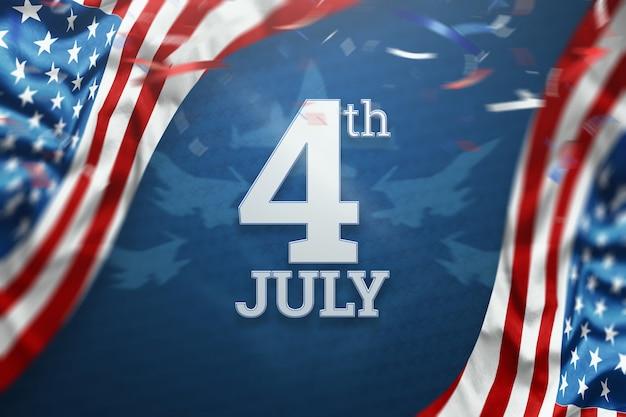 Inschrift 4. juli auf blauem grund Premium Fotos