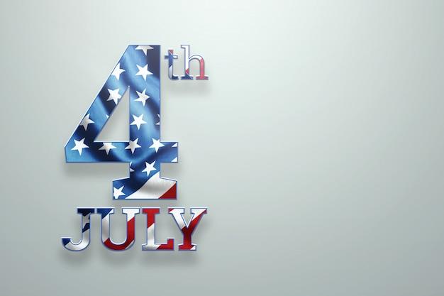 Inschrift 4. juli auf hellem hintergrund Premium Fotos