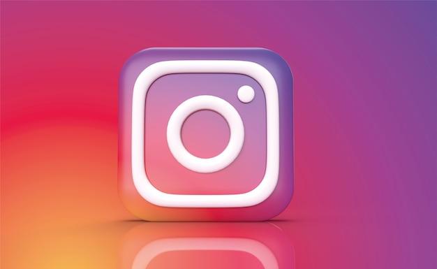 Instagram backgraund 3d rendern, social media logo Premium Fotos