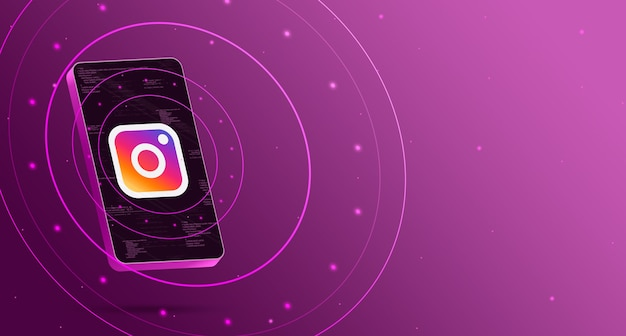 Instagram-logo auf dem telefon mit technologischem display, intelligentem 3d-rendering Premium Fotos