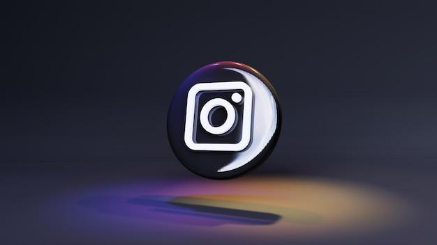 Instagram logo button icon 3d in dunklem hintergrund mit lichtern und kopierraum. 3d-rendering Premium Fotos