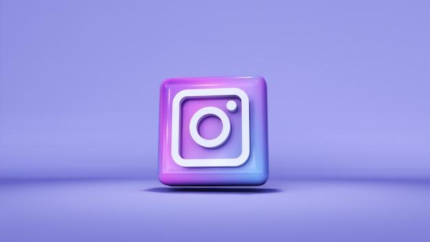 Instagram logo button icon 3d mit kopierraum. 3d-rendering Premium Fotos