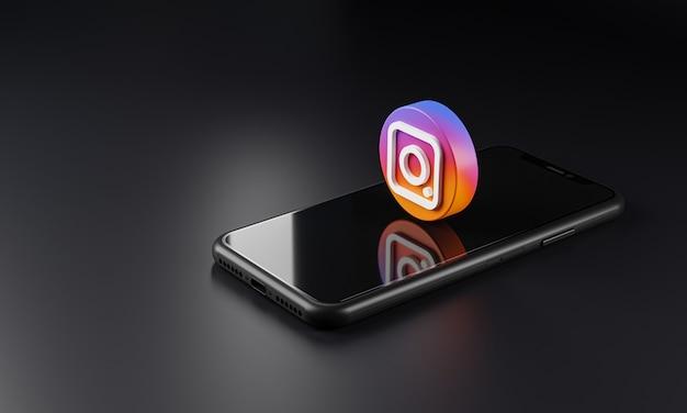 Instagram logo icon über smartphone, 3d-rendering Premium Fotos