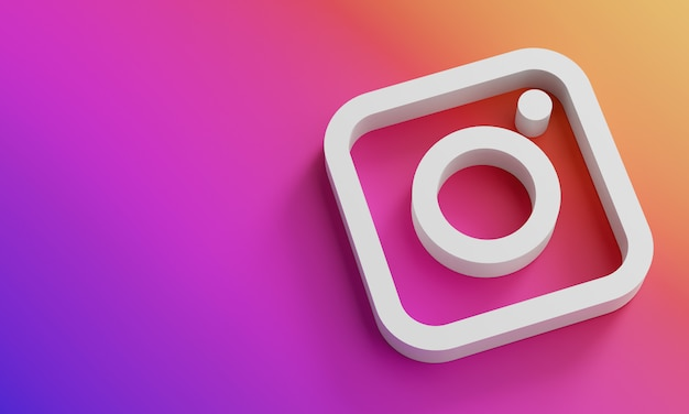 Instagram logo minimale einfache designvorlage. kopieren sie space 3d Premium Fotos