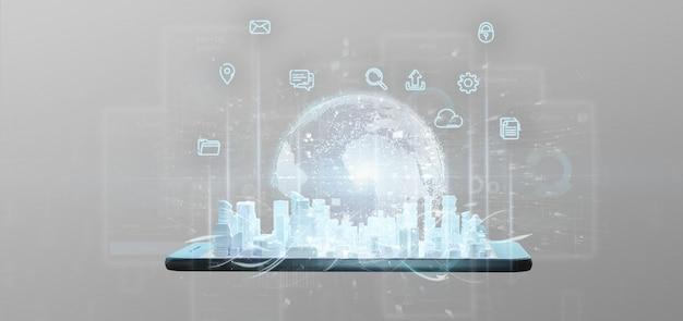 Intelligente stadtbenutzeroberfläche mit wiedergabe der ikone, der statistiken und der daten 3d Premium Fotos