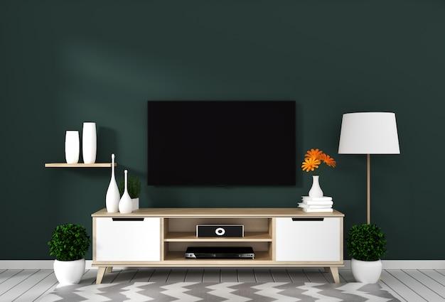 Intelligenter fernsehapparat mit dem leeren bildschirm, der an der wand dunkelgrün auf weißem bretterbodenmodell hängt. 3d-rendering Premium Fotos