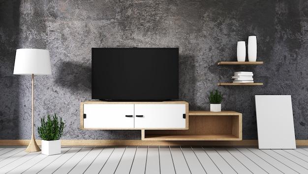 Intelligentes fernsehen führte auf betonmauer mit hölzernem kabinett und anlage im leeren innenraum des topfes. Premium Fotos