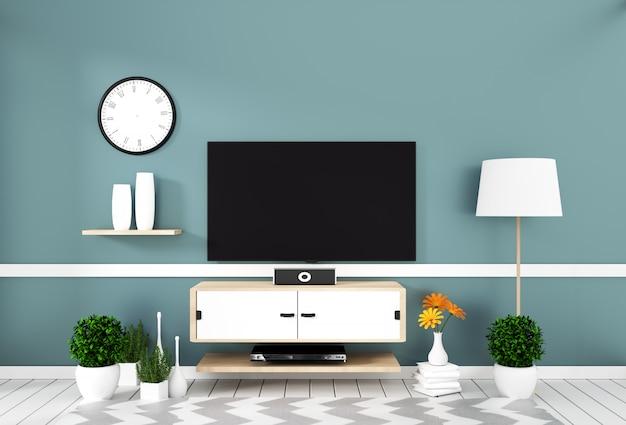 Intelligentes fernsehen mit dem leeren bildschirm, der an der wandminze auf weißem bretterbodenmodell hängt Premium Fotos