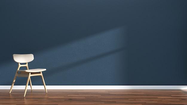 Interieur wohnzimmer dunkelblau wand holzboden interieur sofa stuhl Premium Fotos