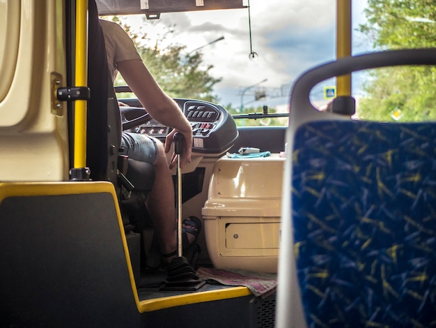 Interion der öffentlichen transportmittel des new- york citybusses Premium Fotos