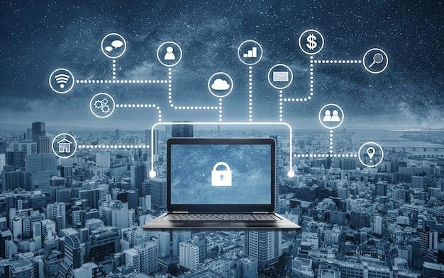 Internet- und online-netzwerksicherheitssystem. laptop-computer mit schlosssymbol auf dem bildschirm und anwendungsprogrammierschnittstellensymbol Premium Fotos