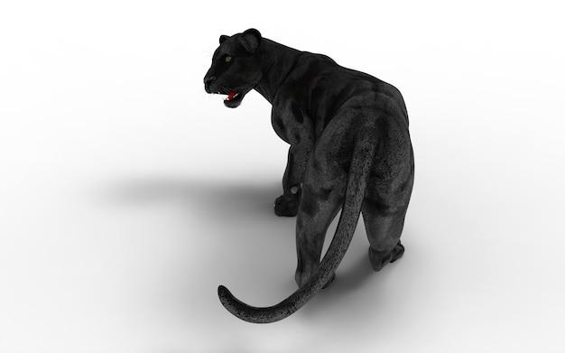Isolat des schwarzen panthers auf weißem hintergrund, schwarzer tiger, 3d illustration, 3d übertragen Premium Fotos