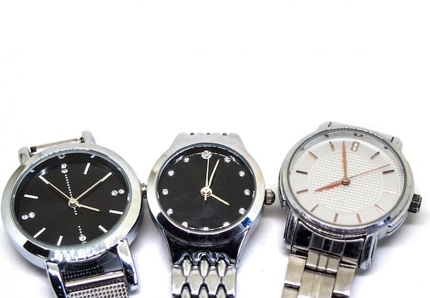 Isolierte drei armbanduhren Premium Fotos