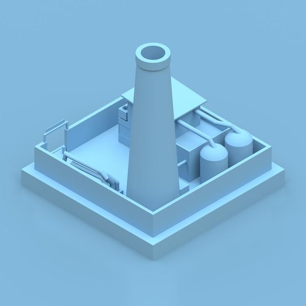 Isometrische blaue fabrik übertragen Premium Fotos