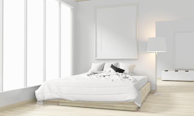 Japanische art des hölzernen betts, des rahmens und der dekoration im minimalen design des zenschlafzimmers. 3d-rendering. Premium Fotos