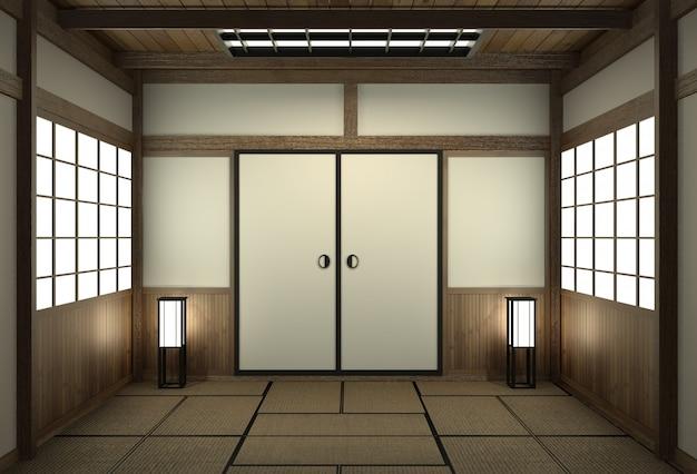 Japanische art des leeren raumes mit türjapan-art. Premium Fotos