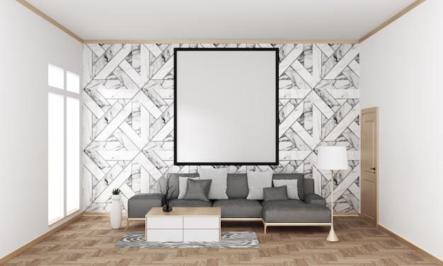 Japanische moderne wohnzimmergranitfliesenwand auf bretterboden, wiedergabe 3d Premium Fotos