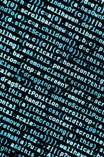 Javascript-code im texteditor. codierung des cyberspace-konzepts. bildschirm des webentwicklungscodes Premium Fotos