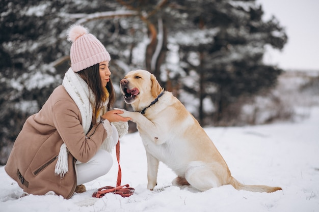 Junge frau, die mit ihrem hund in einem winterpark geht Kostenlose Fotos
