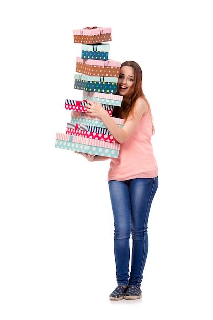 Junge frau mit der geschenkbox lokalisiert Premium Fotos