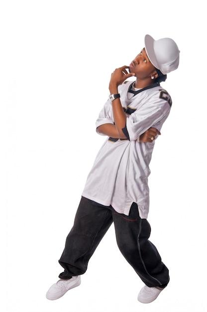 Junge hip-hop-tänzerin auf weiß   Kostenlose Foto